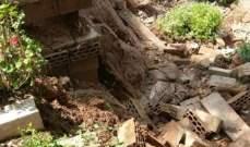 مياه الري ألحقت أضرارا بمقبرة الغرباء في بلدة بخعون