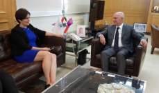 فنيانوس بحث مع سفيرة كندا استعداد الشركات الكندية دخول السوق اللبناني