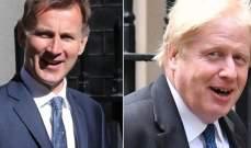 بوريس جونسون وجيريمي هانت المرشحان الأخيران لرئاسة الحكومة البريطانية
