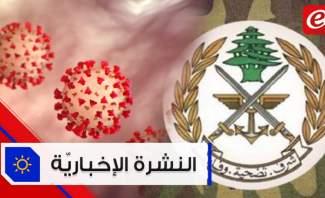 موجز الأخبار:الجيش يتلف كميات من المفرقعات وجدت في مرفأ بيروت و18 وفاة و750 إصابة جديدة بكورونا