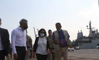 نائب رئيس مجلس الوزراء وزيرة الدفاع زينة عكر تفقدت موقع الانفجار في مرفأ بيروت