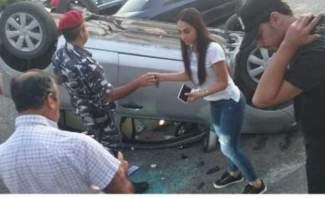 النشرة: انقلاب سيارة على طريق عاليه