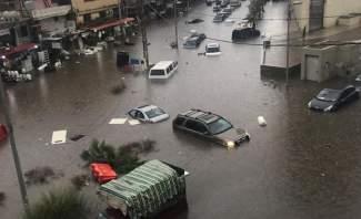تجمع للمياه وغرق السيارات في منطقة السلطان ابراهيم نتيجة الامطار