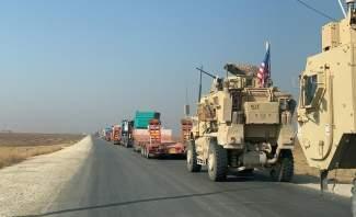 أرتال أميركية تعبر بالقرب من نقطة للجيش السوري جنوب تل تمر في محافظة الحسكة