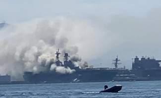 اصابة شخص في حريق اندلع في سفينة تابعة للبحرية الأميركية في سان دييغو