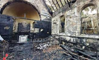النيران تلتهم كنيسة مار جرجس في حلوان - مصر