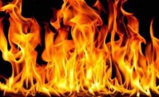 اندلاع حريق على اوتوستراد المنصورية الجديد في عدد من المحال التجارية