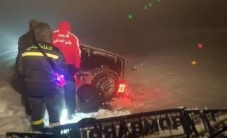 قوى الامن: إنقاذ 3 اشخاص علقوا في الثلوج على طريق صنين