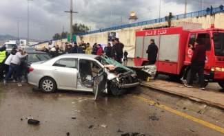 قتيل و4 جرحى نتيجة تصادم بين 4 سيارات على أوتوستراد الأسد باتجاه بيروت