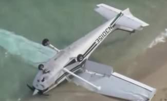 إصابة 4 أشخاص تحطم طائرة ركاب خفيفة على ساحل ميامي في أميركا