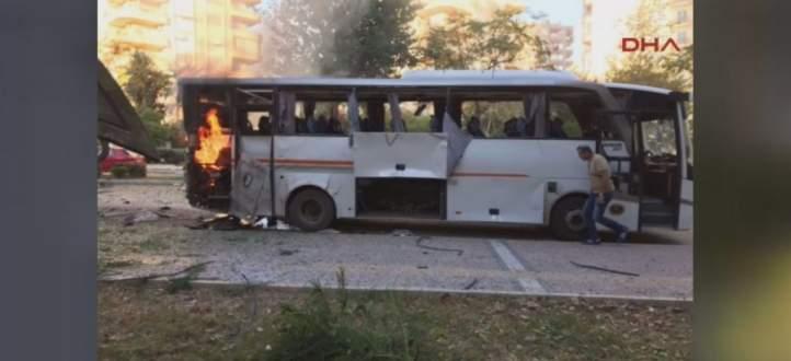 12 جريحا بانفجار استهدف حافلة للشرطة التركية في مرسين جنوب أنقرة