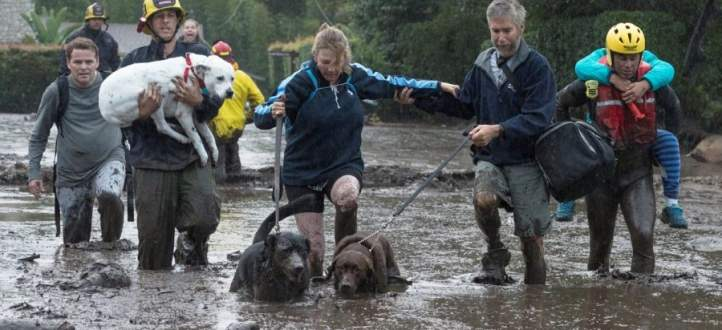 إرتفاع عدد قتلى الفيضانات الطينية في كاليفورنيا إلى 17 قتيلا