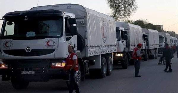 قافلة مساعدات إنسانية تستعد للدخول إلى الغوطة الشرقية