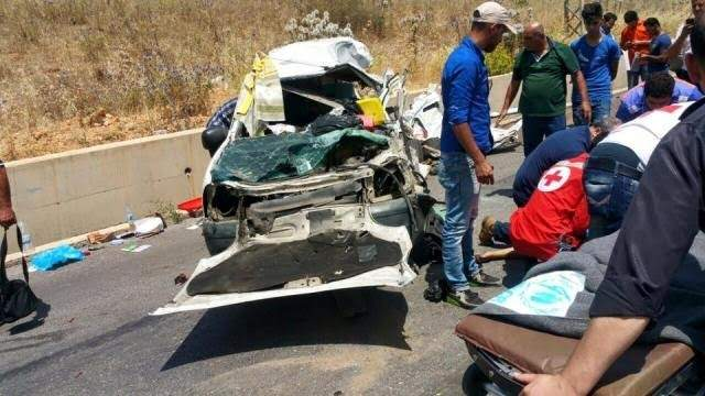 النشرة: حادث سير على طريق عام الحاصباني- كوكبا تسبب بقتيل و3 جرحى