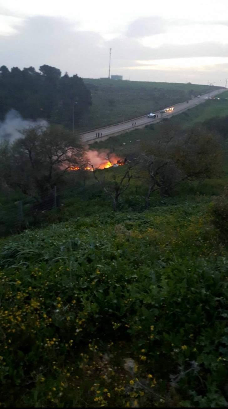 الاعلام الاسرائيلي ينشر صور تحطم طائرة الـ