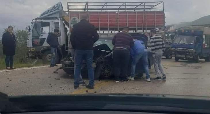 النشرة: جرحى بحادث تصادم على طريق عام راشيا الوادي حاصبيا