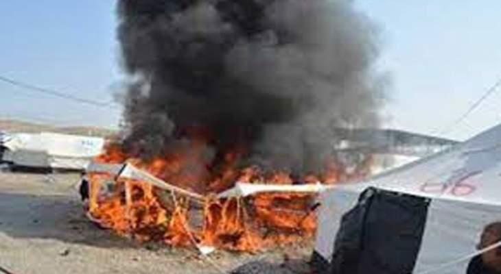 النشرة: إخماد حريق شب بخيمة للنازحين السوريين في بر الياس