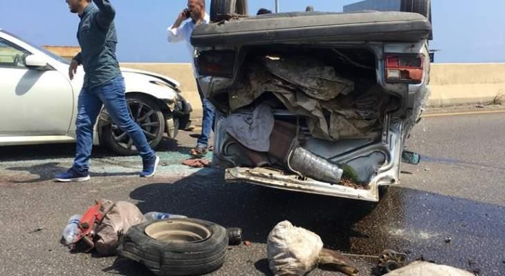 جريحان نتيجة تصادم بين 3 مركبات على أوتوستراد السعديات باتجاه بيروت