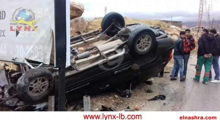 النشرة: جريحان بحادث سير على طريق عين بورضاي- بعلبك