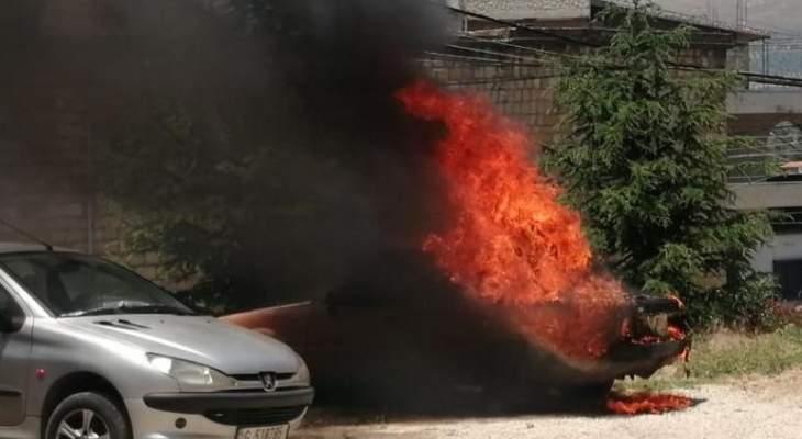 النشرة:اندلاع حريق في سيارة في باحة السرايا الشهابية في حاصبيا