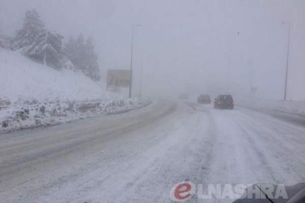 التحكم المروري: طريق ضهر البيدر مقطوعة بسبب  تكون طبقة من الجليد