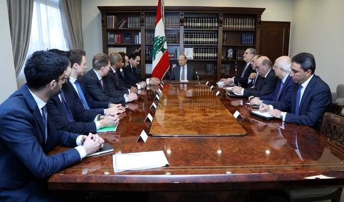 الرئيس عون استقبل وفداً من مؤسسات مالية واستثمارية عالمية ومصرف أميركي