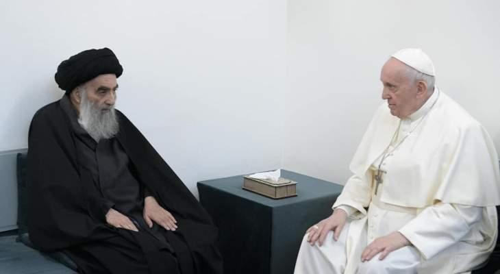 الفاتيكان: البابا بحث مع السيستاني الحوار والتعاون بين الأديان من أجل خير العراق والمنطقة