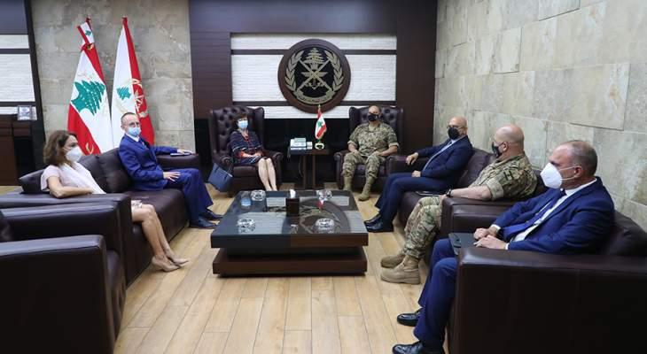 قائد الجيش استقبل دل كول وفورنتسكا وبحث معهما في الاوضاع في لبنان والمنطقة