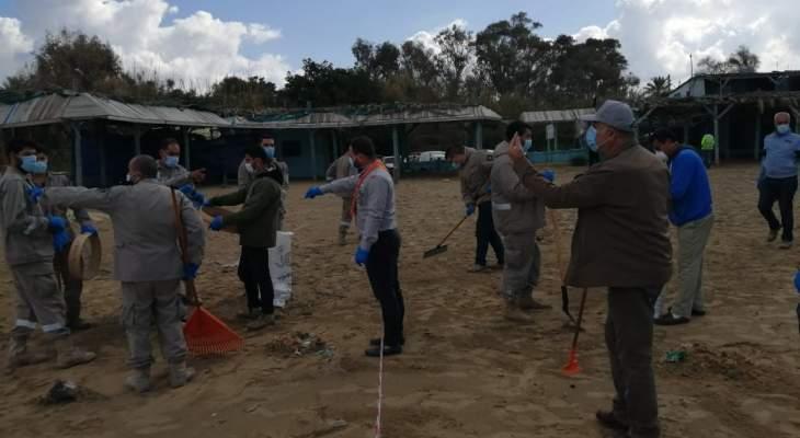 اتحاد بلديات الزهراني اطلق حملة تنظيف الشاطئ اللبناني جراء التسرب النفطي