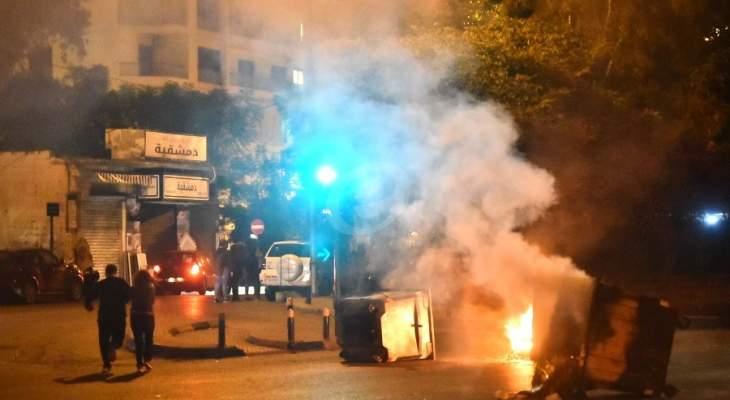 محتجون يقطعون الطريق عند دار الطائفة الدرزية باتجاه فردان وعائشة بكار