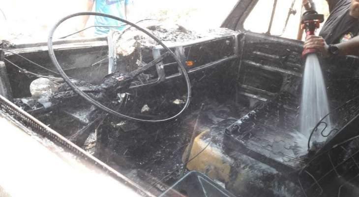 النشرة: اخماد حريق بيك آب في صيدا