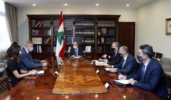 الرئيس عون التقى كوبيتش واطلع منه على مداولات جولتي المفاوضات لترسيم الحدود