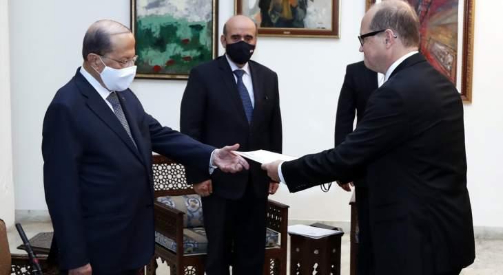 الرئيس عون تسلم اوراق اعتماد سفراء كندا والنمسا وفرنسا وروسيا