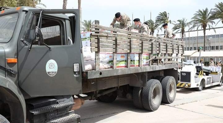الجيش: وصول مواد غذائية مقدّمة من سلطنة عمان