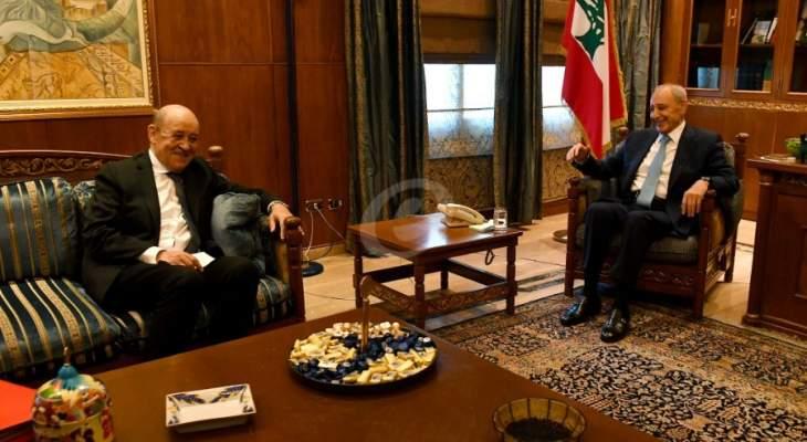 وصول وزير الخارجية الفرنسي الى عين التينة للقاء بري