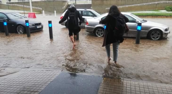 تجمع للمياه امام مطار بيروت