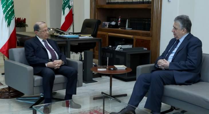 الرئيس عون عرض التطورات السياسية والاقتصادية مع ناجي البستاني