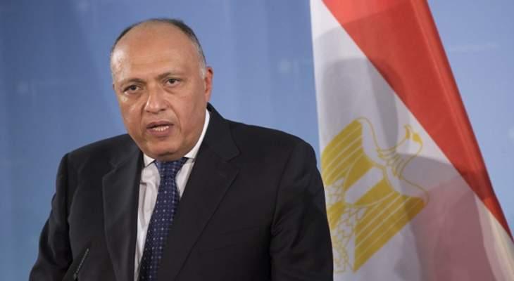 وصول وزير خارجية مصر سامح شكري الى مطار بيروت الدولي