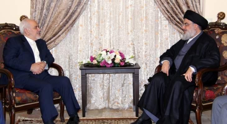نصرالله استقبل ظريف: نتمنى أن تواصل إيران دعمها بالرغم من كل المؤامرات