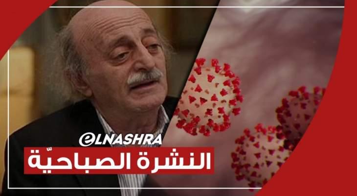 النشرة الصباحية: جنبلاط يؤكد أن مصرف لبنان يُستنزف لصالح المهربين وتسجيل 3480 إصابة جديدة بكورونا