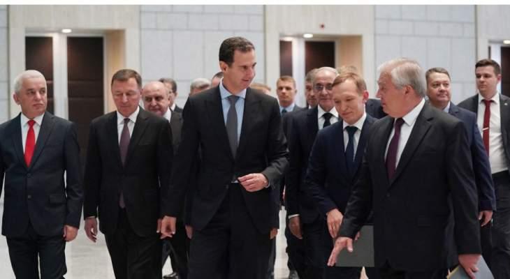 الأسد للافرينتييف: سوريا تعمل بشكل حثيث ومتواصل من أجل عودة اللاجئين