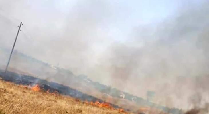 الدفاع المدني أهمد حريقي أعشاب يابسة وأشجار في خراج بلدتي البيرة وأكروم