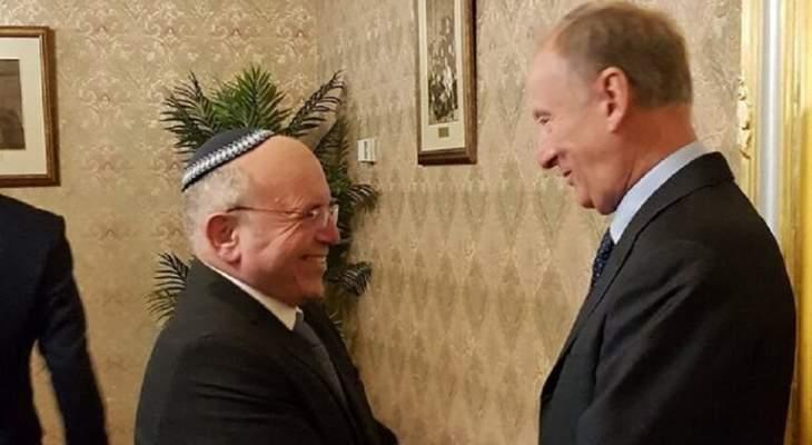 سكرتير مجلس أمن روسيا بحث مع نظيره الإسرائيلي التسوية السورية