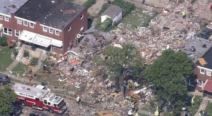 انفجار قوي في حي بمدينة بالتيمور الأميركية أدى إلى تدمير منازل