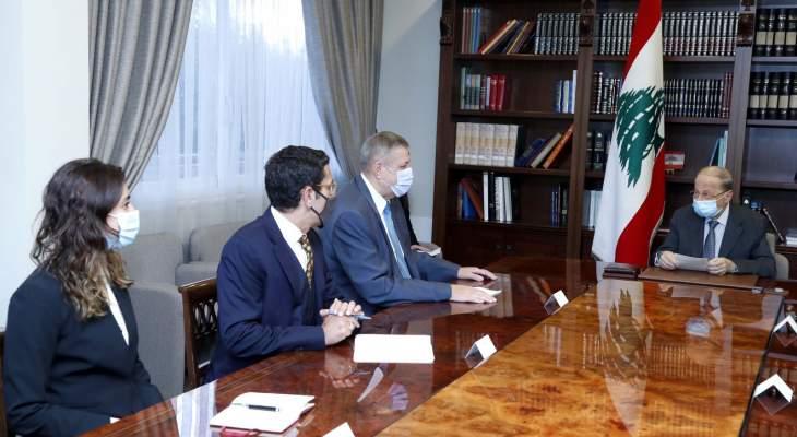 كوبيتش أطلع الرئيس عون على المداولات التي دارت بجلسة مجلس الأمن حول القرار 1701