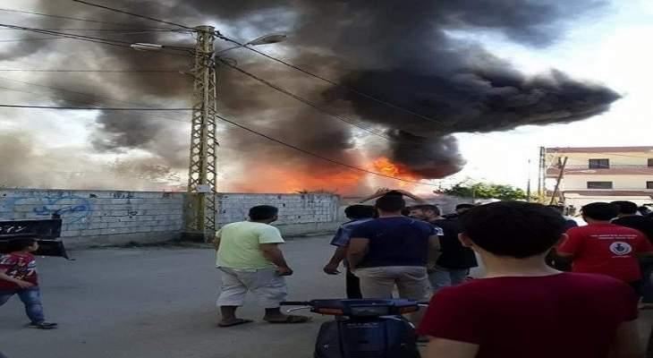 وفاة طفل واصابات عدة في حريق مخيم النازحين السوريين في بحنين