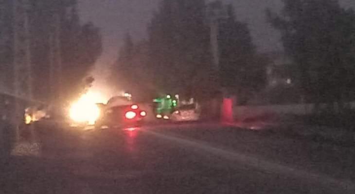 قطع الطريق بالإطارات المشتعلة وحاويات النفايات أمام محطة كهرباء الهرمل