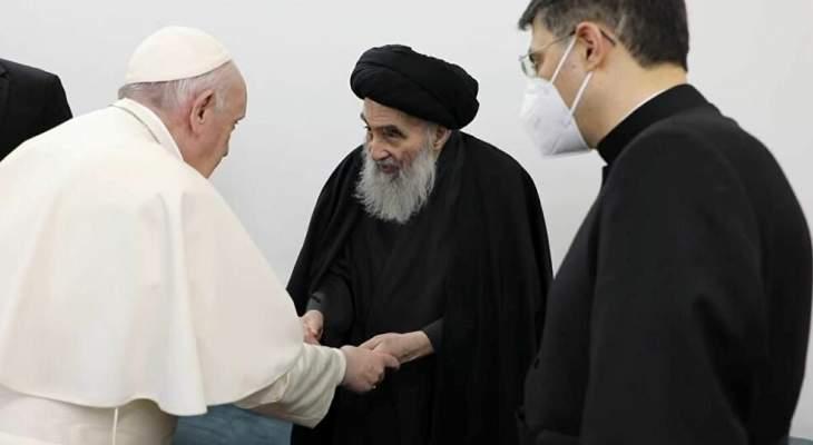 لقاء البابا والسيستاني التاريخي يؤسس لحوار اسلامي-مسيحي بنّاء