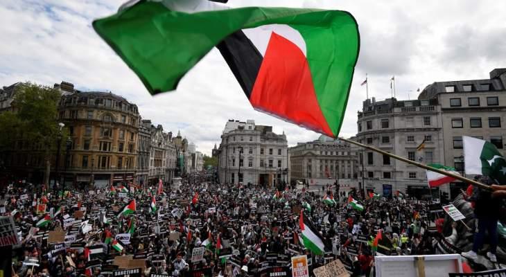 الآلاف يتظاهرون في لندن دعما للفلسطينيين واحتجاجا على العدوان العسكري الإسرائيلي