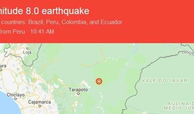زلزال بقوة 8 درجات يضرب 4 دول هي الاكوادور البيرو كولومبيا والبرازيل